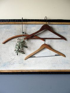 Vintage wooden coat hangers set of three by justynamrugala on Etsy