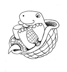 Happy turtle on back, ink line drawing or Digital stamp 3$. Artpixie.etsy.com