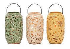 Deco 79 38856 Ceramic Lantern 3 Assorted 12H7W -- You can get more details by clicking on the image.