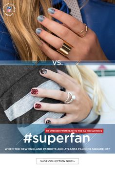 Hey there Superfan! Not sure what to wear for the big game?  Here's the NFL Collection By Jamberry! https://amberlaplante.genuinelyuseful.com/nfl-collection-by-jamberry?utm_source=Pinterest&utm_campaign=superfan&utm_medium=propin&utm_content=superfan All 32 Teams, 2 Designs per Team. You can do this manicure yourself. DIY and I can help you learn how.