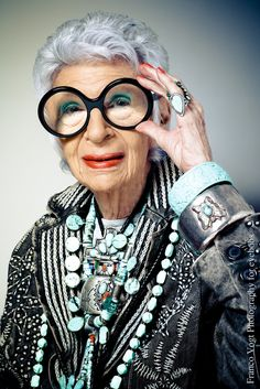 Iris Apfel 3.  Love that turquoise!