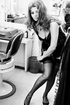 Sophia Loren in her dressing room, 1963.