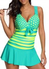 Polka Dot Cyan Wide Strap Swimdress and Shorts | liligal.com - USD $32.42