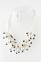pearl statement necklace and earring set