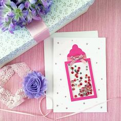 Create the perfect card for your next baby shower with this cute bottle shaker card. Free pattern and tutorial will make this an easy project to make.