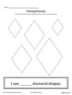 Geometric Shape Counting and Tracing: Diamond Worksheet.Practice counting and tracing the geometric shape diamond in this printable worksheet.