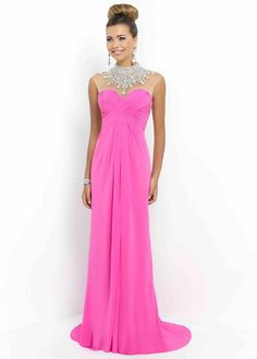 Sheer Beaded High Illusion Neck Ruched Petunia Long Prom Dress