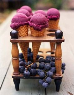 "See the ""Concord Grape Sorbet"" in our Grape Recipes gallery Grape Ice Cream, Blueberry Ice Cream, Blueberry Sorbet, Frozen Desserts, Frozen Treats, Just Desserts, Mini Desserts, Dessert Recipes, Grape Recipes"