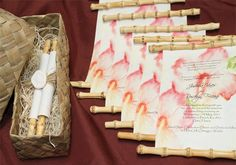 Want to give your guests a wow first impression of your upcoming event? These handmade invitation scrolls always do the job! www.designsbylenila.com