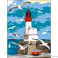 The Royal Gallery of Needlepoint Tapestries - Seaside -> Le Treport Landscape Art, Landscape Paintings, Lighthouse Painting, Lighthouse Pictures, Beginner Painting, Easy Paintings, Beach Art, Artist Painting, Art Pictures