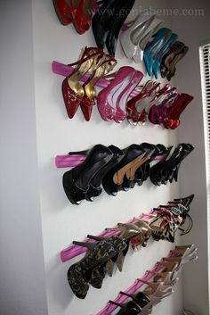 Crown molding shoe rack DIY. I don't have that many high-heeled shoes, but curious to test what type of shoes this would hold. You could do as large/small of an area as you wish.