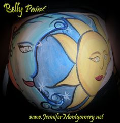 Sun and Moon belly painting by Philadelphia body painter Jennifer Montgomery