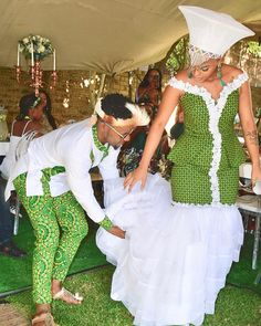 Image may contain: 2 people people standing and wedding Zulu Traditional Wedding Dresses, Zulu Traditional Attire, African Fashion Traditional, African Traditional Wedding, African Print Wedding Dress, African Wedding Attire, African Attire, African Dresses For Women, African Fashion Dresses