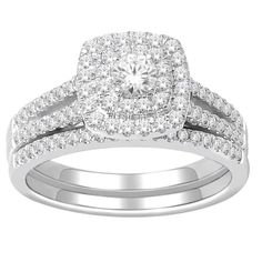 0.75 carat 10k White Gold Double Halo Cluster Diamond Trio Engagement Ring & Wed - Diamond