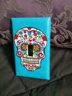 Sugar Skull Purple Light Switch Cover on Etsy, $12.00