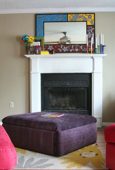DIY storage ottoman - match the red suede of couch? or maybe do a rusted copper suede?