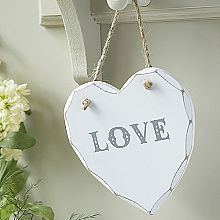 Chunky Hanging Heart Plaque-Love
