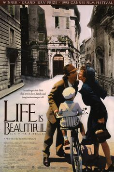 """Life Is Beautiful"" in 1997 directed by Roberto Benigni (Manciano 1952). Italian film which tells the story of a Jewish Italian, Guido, who must employ his fertile imagination to help his family during their internment in a Nazi concentration camp. Part of the film came from Benigni's own life experience: his father was interned at the Bergen-Belsen concentration camp.  In 1999, The film won the Academy Award for Best Actor (Benigni),  Best Original Dramatic Score and Best Foreign Language…"