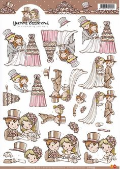 Card Deco Cut out sheet wedding/marriage CD 10199 - Wedding/Marriage Christmas Sheets, Art Deco Cards, Paper Art, Paper Crafts, Free Printable Stickers, Free Printables, 3d Sheets, Wedding Illustration, 3d Craft