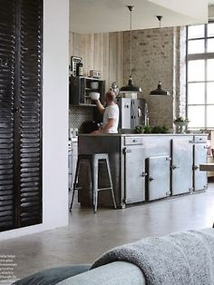 kitchen island - reuse vintage fridge or ice box doors as cabinets