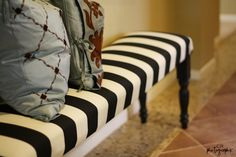I should make this bench yesterday. Made from a flat board, 4 pre-made legs, and fabric with stuffing.