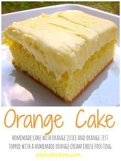 Orange Brownies with Cream Cheese Frosting – Plain Chicken Orange Cake Recipe – homemade cake with orange juice and orange zest – topped with a homemade orange cream cheese frosting. My favorite cake! 13 Desserts, Delicious Desserts, Dessert Recipes, Dessert Bread, Homemade Cake Recipes, Baking Recipes, Homemade Orange Cake Recipe, Meal Recipes, Moist Orange Cake Recipe