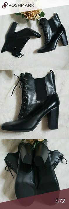 """NWOT Liz Clairborne chunky heeled lace up boots Never worn Liz Clairborne black leather boots. No flaws.  3"""" heel Liz Claiborne Shoes Lace Up Boots"""