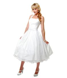 2012 Homecoming Dresses Off White Cotton Eyelet Flirty Halter Swing Dress - Unique Vintage - Cocktail, Pinup, Holiday & Prom Dresses.