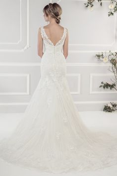 Style 11433 Back Shot  Elegant Soft Tulle Fluted Dress with Appliqué  Guipure Lace Motifs  98f31f2665