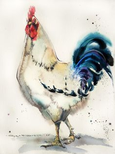The Chronicles of Watercolor Birds Tutorial Watercolor birds tutorial helper 17 Pen And Watercolor, Watercolor Animals, Watercolor Illustration, Birds Painting Watercolor, Rooster Painting, Rooster Art, Chicken Art, Galo, Bird Drawings