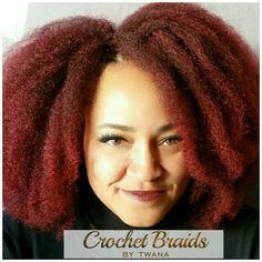 Crochet Braids with Diana Nubian Natural Twist Braid in color 1B/Burg. #crochetbraids #protectivestyles #braids #hairextensions #teamnatural #bohemian #marleyhair #nubiantwist #99J #burgundyhair #afro #crochetfro www.crochetbraidsbytwana.com