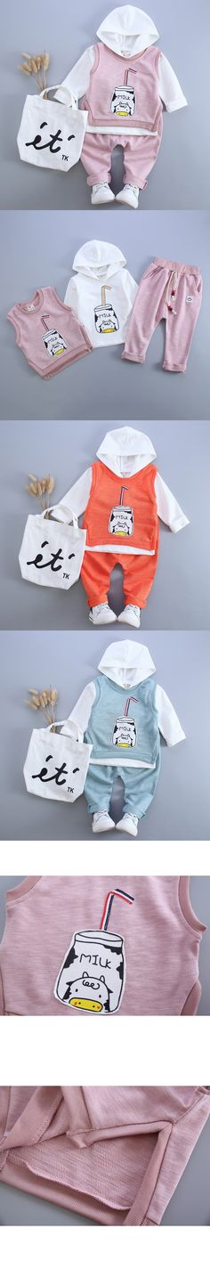 Hot sale Baby Girl Clothes 2016Fashion Autumn Baby Clothing Sets Milk Pattern Print(Hooded Sweatshirts+Vests+Pants) Kids Clothes