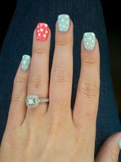 Mint and coral pok a dots