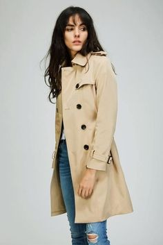 Woman Classic Double Breasted Trench Coat Waterproof Raincoat