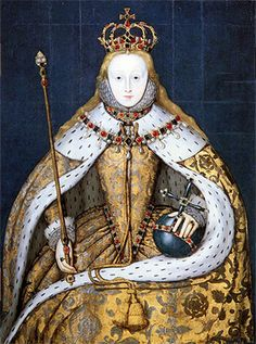 January 15, 1559 25 year old Elizabeth I in her coronation robes, patterned with Tudor roses and trimmed with ermine.
