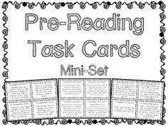 *FREE!* Pre-Reading Task Cards Mini-Set for Novel Study!