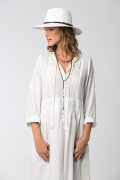 Long Sleeve White Dress Bohemian Dress Loose Dress White