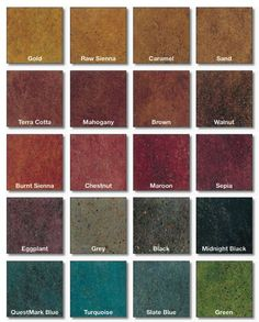 Take a look below at our stained polished concrete color chart. We keep most of the colors below in stock, so there?s never a delay when it comes to staining your polished concrete. Concrete Color, Painting Concrete, Concrete Patio, Acid Wash Concrete, Concrete Walls, Concrete Kitchen, Poured Concrete, Concrete Lamp, Stamped Concrete