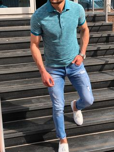 Calvinus Men& Turquoise Slim Fit Polo Shirt made of cotton and elestan. Men Blue Slim Fit Distressed Jeans made of special quality denim. The Lamlo White Tassel Espadrille Loafer are comfortable and make your look more stylish. Slim Fit Polo Shirts, Polo T Shirts, Casual T Shirts, Polo Shirt Outfits, Polo Shirt Colors, Stylish Men, Men Casual, Casual Chic, Summer Outfits Men