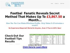 Champion Bets Review. Champion Bets specialises in finding value football bets at average odds of 2.03. Champion Bets Reviews.- authorSTREAM Presentation. Champion Bets from Steve Hudson specialises in Asian Handicap betting on soccer with UK and European leagues. Strike rate of 65% claimed at average odds 2.03. Around 6 selections per week. Champion Bets Reviews.