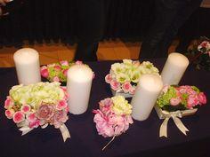 Moustakas fllowers-Wedding table decoration #weddingdecoration #weddingtabledeco #weddinginspiration Pillar Candles, Wedding Table, Weddings, Decoration, Flowers, Ideas, Decor, Wedding, Decorations