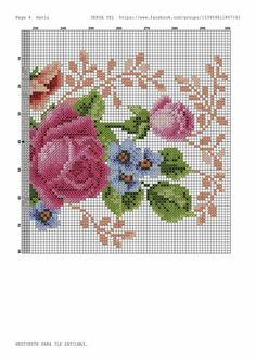 Cross Stitch Rose, Cross Stitch Flowers, Cross Stitch Embroidery, Cross Stitch Designs, Needlepoint, Needlework, Crochet, Greeks, Cross Stitch Art