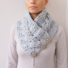 PDF crochet PATTERN button cable cowlneckwarmer by Accessorise