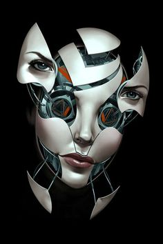 BILLY NUNEZ first painted the faces of beautiful women, then digitally cut up each section before drawing in the mechanical parts---love this!