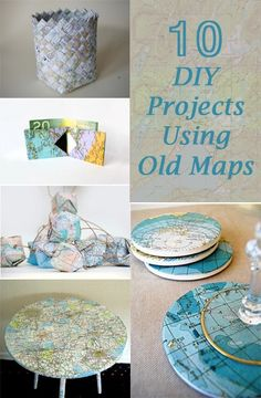 Do you love old maps? Well if so, today's round-up is going to make you dance and celebrate. I found a great database of map/travel inspired crafts that I think you will enjoy. crafts to sell 10 Ways To Reuse Your Old Maps Map Crafts, Travel Crafts, Cute Crafts, Crafts With Maps, Book Crafts, Crafts To Make And Sell, Diy And Crafts, Arts And Crafts, Crafts For Kids