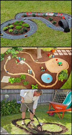 This project is not only for your kids, it can also be a backyard decor when built nicely!  Are your kids are into cars or racing? Here's a beautiful backyard project that your kids will love!  This DIY project is a miniature version of a real race track. It has real plants, grass and even roads made with cement mix for that added touch of authenticity.  Do you have an empty spot in your garden for this DIY outdoor race car track?