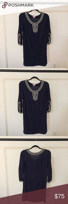 Lilly Pulitzer Dress with Beading Detail // New Never worn before! Navy Lilly dress with beautiful beading detail on the neckline and sleeves. The beading is purple, gold, and white. Tags still on the dress! Lilly Pulitzer Dresses Long Sleeve