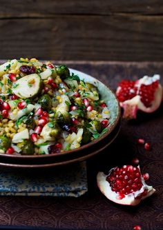 Freekeh with Brussels Sprouts, Apple, Dried Cranberries, Honey, and Pomegranate