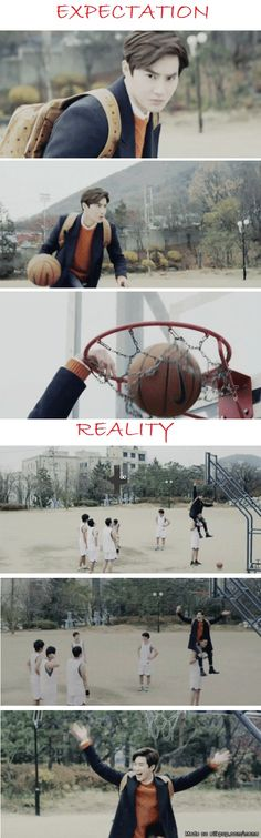 Suho playing basketball..
