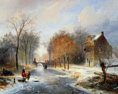 Wijnand Nuyen - Winters gezicht op de Vredenburghweg te Rijswijk ZH